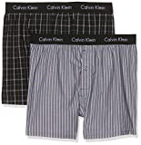 Calvin Klein 2p Wvn Slim Fit, Boxer Uomo, Multicolore (Bristol Plaid Black/Overt Stripe Black), Small(Pacco da 2)
