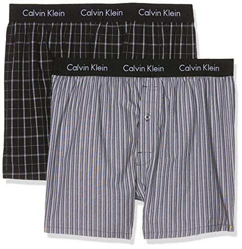 Calvin Klein Herren Hüft-Shorts 2p Boxer WVN Slim Fit, 2er Pack, Schwarz (Bristol Plaid Black/Overt Stripe Black Ovt), Small (Klein Black Calvin Stripe)