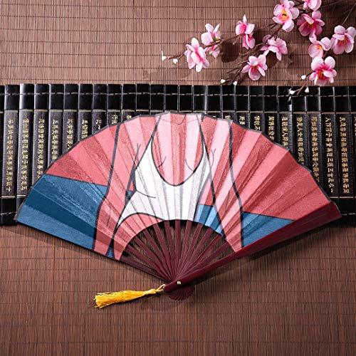 EIJODNL Große Faltfächer Handheld schöne Frau mit Sonnenbrille mit Bambusrahmen Quaste Anhänger und Stoffbeutel Faltfächer Japanische dekorative Faltfächer Große Faltfächer