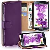 moex Samsung Galaxy S4 Mini | Hülle Lila mit Karten-Fach 360° Book Klapp-Hülle Handytasche Kunst-Leder Handyhülle für Samsung Galaxy S4 Mini Case Flip Cover Schutzhülle Tasche