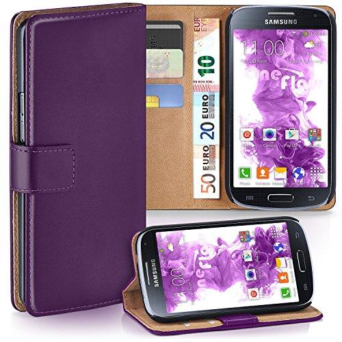 moex Samsung Galaxy S4 Mini   Hülle Lila mit Karten-Fach 360° Book Klapp-Hülle Handytasche Kunst-Leder Handyhülle für Samsung Galaxy S4 Mini Case Flip Cover Schutzhülle Tasche