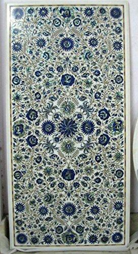 Konferenz Tisch Top 124,5x 61cm weiß Marmor Lapis Lazuli Pietra Dura Art Floral Design