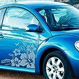 JINTORA Sticker - Autocollant - Jeu d'autocollants de Voiture Verre Hibiscus, 2 pièces. 72cm x 72cm Turquoise Pastel - réglage Lunette arrière Voiture - Style de Voiture