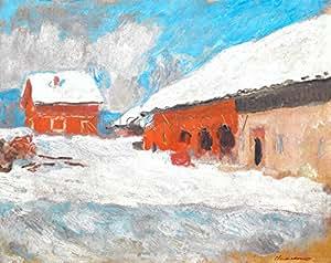 Les maisons rouges a Bjoernegaard Norvege 1895 Poster - Claude Monet