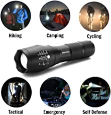 5 Mode Zoomable 3 Modes of Flashing LED Flashlight Torch