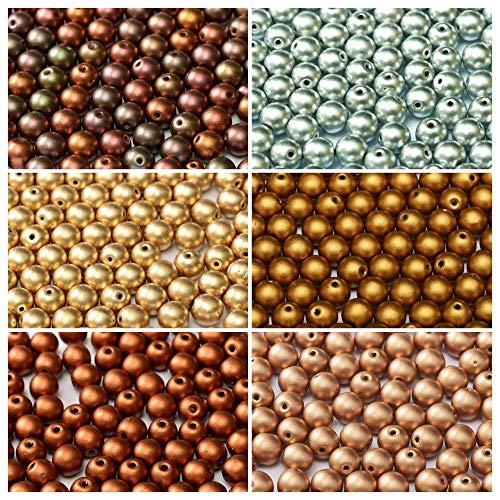 600 stk 6 Farben Tschechische Gepresste Glasperlen Rund 3 mm, Set RP 323 (3RP111 3RP112 3RP113 3RP114 3RP115 3RP116) -