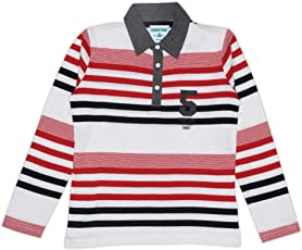 sharktribe Boy's Cotton Full Sleeve Polo T-Shirt (Multicolour, Pack of 1)
