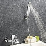 Kinse Elegant Zeitgenössische Armatur Wasserfall Badewanne Wasserhahn inkl. Wandhalterung mit Handbrause für Bad Badezimmer