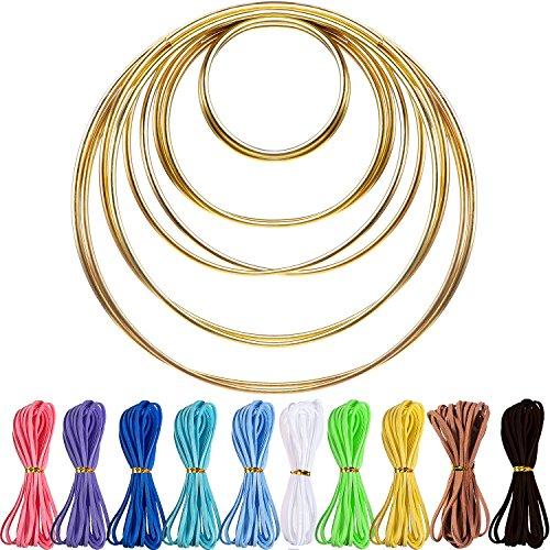 10 Stück Metallringe Creolen mit 10 Stück 3 mm Faux Suede Cord String für Dream Catcher (Home Leder Decor Faux)