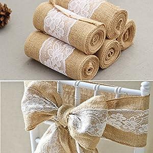 15 * 240 cm Vintage Jute Burlaps con cinta de artesanía de rollo de encaje blanco para la decoración de la boda en…