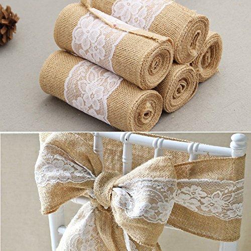 Lanlan Craft Ribbon für Tischläufer Stuhl Schärpen 15* 240cm Vintage Jute burlaps mit weißer Spitze Rolle Hochzeit Dekoration (Khaki Schärpe)