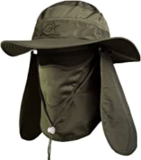 Ddyoutdoor 07-281 Fashion Summer Outdoor Sun Protection Fishing Cap Neck Face Flap Hat Wide Brim (army green)