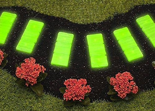 UPP® Gartenweg Platten nachtleuchtend 6er Set/Gartenplatten/Beetplatten/Trittplatten/Steinplatten/Beet/Garten