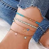 Ushiny Boho Farfalla Beach Cavigliera Oro Braccialetto alla caviglia con perle estive Cavigliere in corda intrecciata Accesso