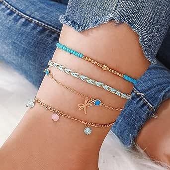 Ushiny Boho Farfalla Beach Cavigliera Oro Braccialetto alla caviglia con perle estive Cavigliere in corda intrecciata Accessori per gioielli con catena a farfalla per donne e ragazze