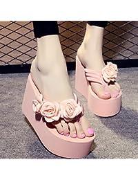 Der Sommer kommt. Hausschuhe Frauen Mode Rutschfeste dicke Kruste high-heeled flip-flops neue Hand- beach Sandalen und Hausschuhe Hausschuhe klein sind, ist es empfehlenswert, einen großen Hof, Hausschuhe klein ist, wird empfohlen, einen großen Hof zu nehmen, 11 cm weiß + orange Blumen