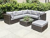 Hansson Polyrattan Lounge Sitzgruppe Gartenmöbel Garnitur Poly Rattan 3 bis 7 Sitzplätze plus Hocker (5 Sitzplätze + 1 Hocker (Variant A))