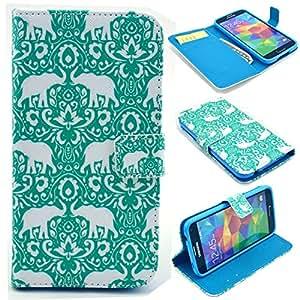 Galaxy S5 Mini Coque , Samsung Galaxy S5 Mini Coque Lifetrut® Luxe Portefeuille Housse en cuir Notebook Style Etui à rabat Slim-Fit Folio Case Coque Etui pour Samsung Galaxy S5 Mini [ green Elephant ]