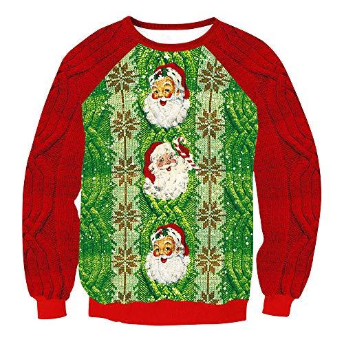 Beginfu Weihnachten Frauen Pullover Sweatshirt Herbst und Winter Santa Printing Rundkragen Sweatershirt Tops Bluse Lose Bluse Hemd Oberteil Tops Strickwaren ()