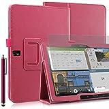 Invero® Premium Hülle Ledertasche umfasst Ständer Feature, Displayschutzfolie und Eingabestift Kugelschreiber für Samsung Galaxy Tab Pro 12,2 Zoll SM-T900 SM-T905 (Rosa / Pink)