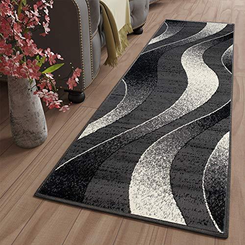 Tapiso Dream Teppich Läufer Flur Brücke Modern Streifen Wellen Streifen Muster in Dunkelgrau Creme Schwarz Korridor Wohnzimmer ÖKOTEX 80 x 300 cm -