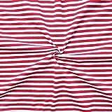 Baumwoll Stretch Jersey Stoff Ringel Meterware Weiss-Rot