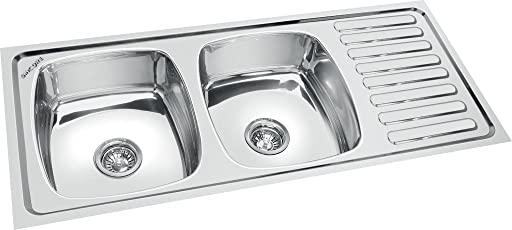 SINCORE KITCHEN SINK SATURN LARGE 45 in X 20 in X 7.5 in MATT FINISH DOUBLE BOWL WITH DRAINBOARD 304 GRADE STAINLESS STEEL LIFETIME GUARANTEE