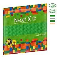 NextX 4 Stück Grundplatten Große Bauplatte Kompatibel mit Lego Gebäude Spielzeug,25cm* 25cm Verdickung Bausteine Platten set 32 * 32Punkte (Grün+Grau+Khaki)