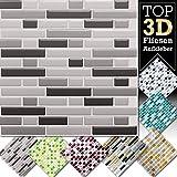 1 Stück 28,6 x 25,3 cm verschiedene Grautöne Fliesenaufkleber Design 5 I 3D Mosaik Fliesenfolie Küche Bad Aufkleber Grandora W5423