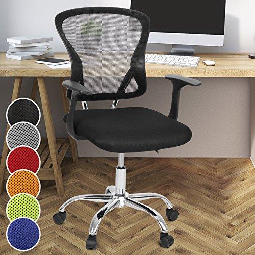 Miadomodo Sedia girevole da ufficio scrivania con sedile imbottito regolabile e schienale inclinabile e regolabile colore nero