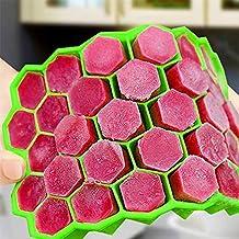 Aolvo Moldes de Silicona Hacer Hielo, 37 hexagonales, sin BPA, no Tóxico,