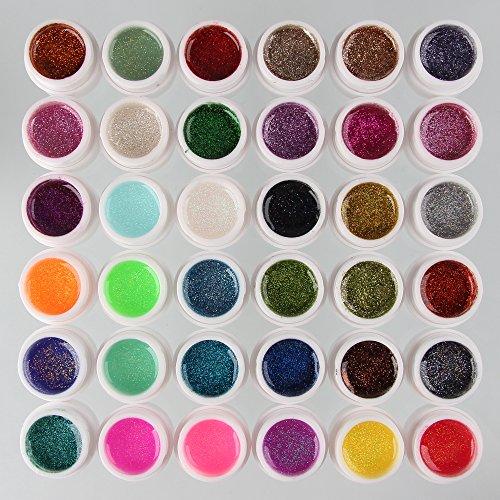 Beauty7 Nail Art 36 Pcs UV Gel Paillette Fine Glitter Pour Ongle Faux Acrylique Manucure