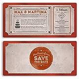 (30 x) Hochzeitseinladungen Vintage Retro Ticket Look Rot Einladungskarten Hochzeit
