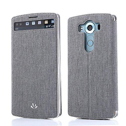 LG V10 Hülle, Feitenn PU Ledertasche TPU Soft Silkone Window View Schutzhülle mit Standfunktion und Karte Halter Book Style Wallet Case Magnetic Cover Flip Handyhülle Für LG V10 Grey