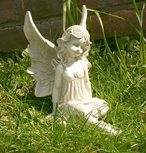 Sitzender Fee in Kleid mit verschränkten Beinen 23cm Engel Garten Statue Skulptur Gedenk Stein Effekt