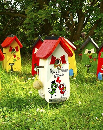 Vogelhaus Hochzeit, Vogelhochzeit, Vogelvilla, Hochzeitsgeschenk,Vogelhaus mit Beschriftung