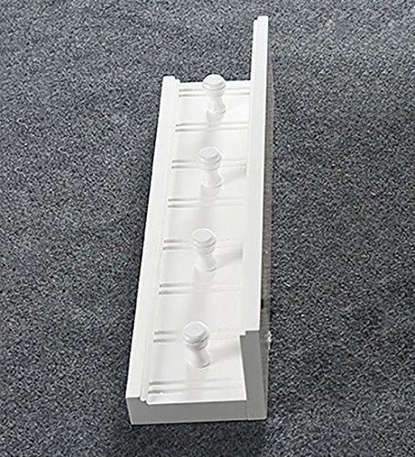 WUFENG Patère Murale Bois Massif Simple 4 Crochets Tête Ronde Tablette Trois Couleurs En Option Longueur 60cm (Couleur : Blanc)