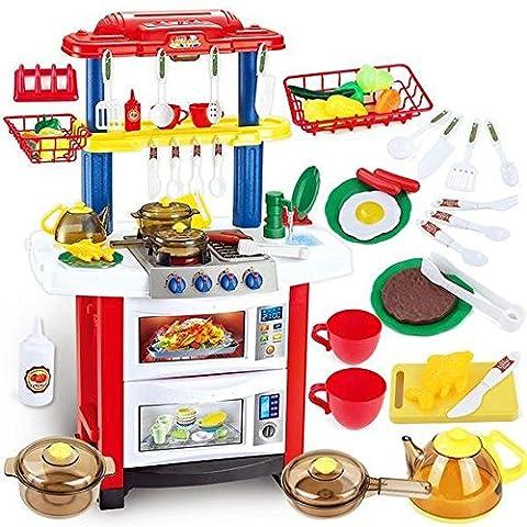 deAO Happy Little Chef Küchen Spielset mit Klängen, Licht und Wasserspiele - Enthält 33 Zubehör (Küche Pretend Spielset)
