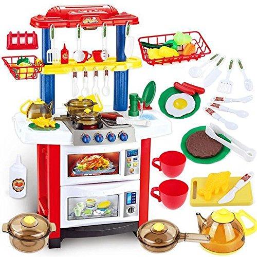 """deAO Cocinita """"Happy Little Chef"""" con Características de Sonidos, Luces y Agua - Más de 30 Accesorios Incluidos"""