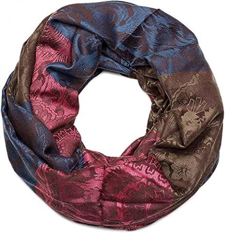 styleBREAKER Blumen, Hibiskus Blüten, Paisley Muster, Loop Schlauchschal, warme und weiche Qualität, Schal, Damen 01018058, Farbe:Blau-Braun-Pink