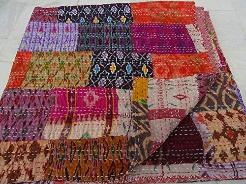 Tribal Asian Textiles Couvre-lit Kantha en patchwork matelassé style vintage/indien/bohémien Fabriqué à la main
