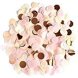 XCOZU 1500 Piezas Confeti Oro Rosa, 1cm Redondos Confeti para Bodas, San Valentín, Confeti de Mesa, Cumpleaños, Fiestas, Conf