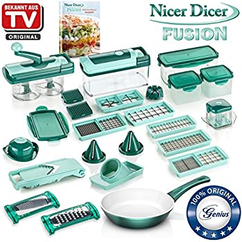 genius nicer dicer fusion julietti 34 teile schneiden reiben julienne spiralen. Black Bedroom Furniture Sets. Home Design Ideas
