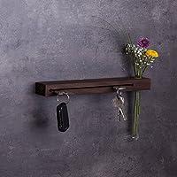 Schlüsselbrett Holz mit Blumenvase, 30cm - viele Varianten / Holzarten (in Bayern handgefertigt) Schlüsselhalter Nuss / moderne Schlüsselleiste als Board Schlüssel-Aufhänger / Nussholz
