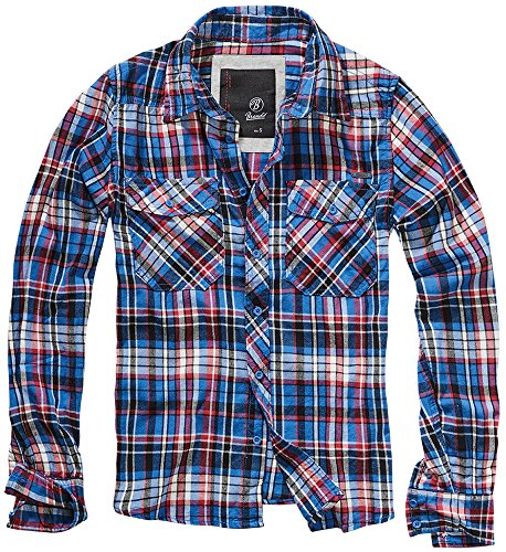 BRANDIT Check Shirt Blue-Red M (Down Check Shirt Blue Button)