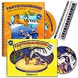 Tastenzauberei Band 1 und 2 - Klavierschule mit 2 x CDs für Kinder von Anike Drabon - für den Einzel- und Gruppenunterricht - mit 14 lustige Smiley-Sticker , Piano-Lineal und Piano-Bleistift