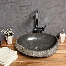 Steinwaschbecken Naturstein Waschbecken ✓ 40 cm ✓ einzeln fotografiert ✓ Persönliches Waschbecken Naturstein auswählen ✓ Handwaschbecken Aufsatzwaschbecken Stein Flussstein ✓ WOHNFREUDEN