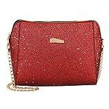 YULAND Damen Ledertasche Kleine, Umhängetaschen Handtaschen Damenhandtaschen Damenmode Pailletten Umhängetasche Reine Farbe Umhängetaschen Umhängetasche (Rot)