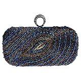 MNBS Damen Abendtasche Clutch Handtasche aus künstlichen Perlen Strass in 3 Farben