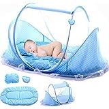 Babyzelt Reisebett Reisebett Baby Anti Mosquito Reisebettzelt Babyzelt Faltbett mit Moskitonetz, Matratze, Baumwollkissen und Musikpaket (Blau)